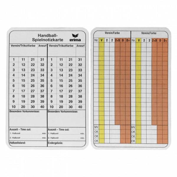 Handball Spielnotizkarten