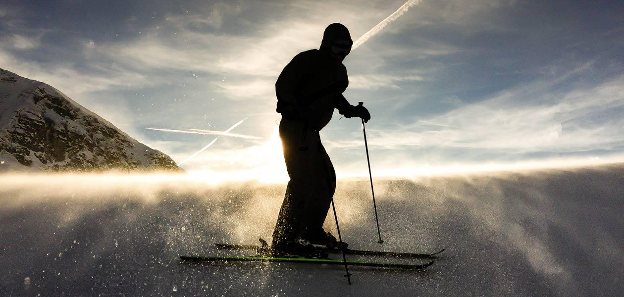 All Mountain Ski Bild Sonnenuntergang