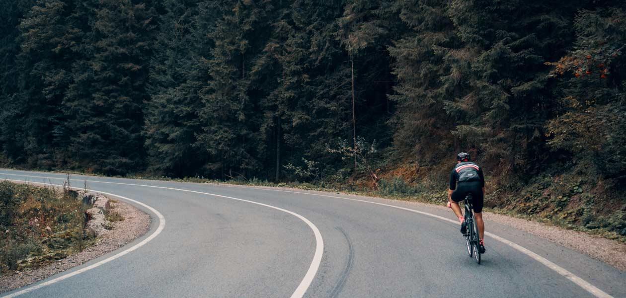 Radsport auf Straße im Wald